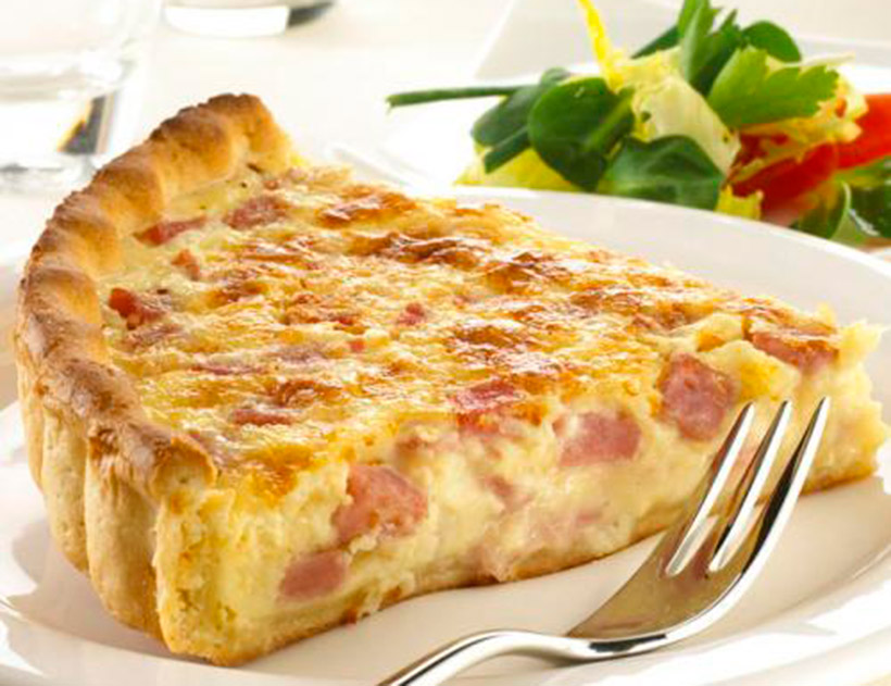 Quiche Lorraine is heavy cream, eggs, bacon or chopped ha ...